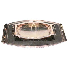 Lovely Large Antique Art Deco Silver Serving Bowl with Tray, France, circa 1930