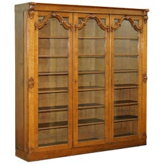 Lovely Large Golden Paneled Mahogany Bookcase with Glass Doors Ornate Carving