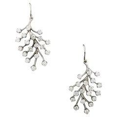 Lovely Leafy Diamond Earrings in White Gold
