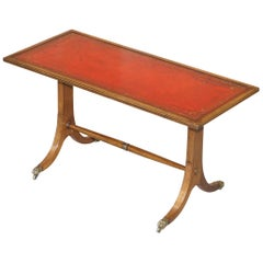 Lovely Light Mahogany with Oxblood Leather Top Coffee Table Lion Paw Castors