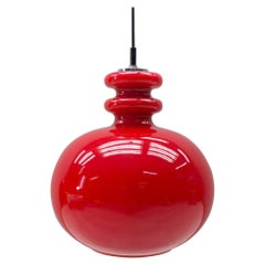 Lovely Lipstick Red Glass Ceiling Lamp by Peill & Putzler, 1970s