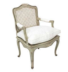 Lovely Louis XVI Cane Back Painted Fauteuil