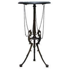 Lovely Marble Topped Side Table with Bronzed Tripod Base Depicting Phoenix's