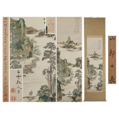 Lovely Meiji Period Scroll Paintings Japan Artist Landscape Painted