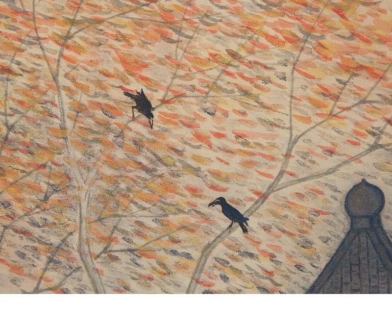 Silk Lovely Meiji Period Scroll Paintings Japan Artist Waterfall Landscape Painted For Sale