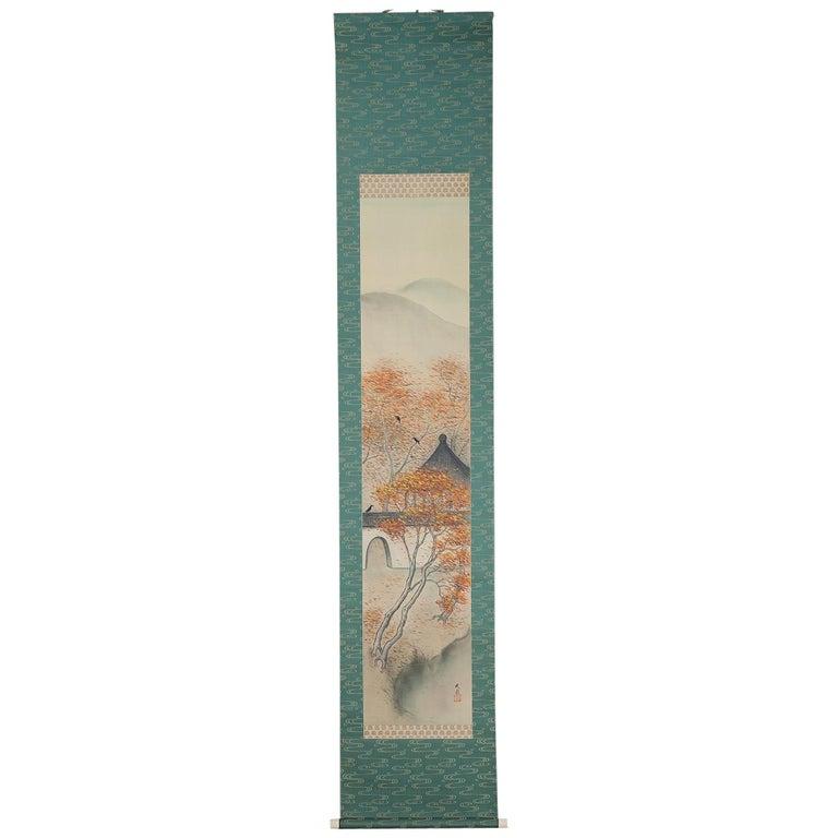 Lovely Meiji Period Scroll Paintings Japan Artist Waterfall Landscape Painted For Sale