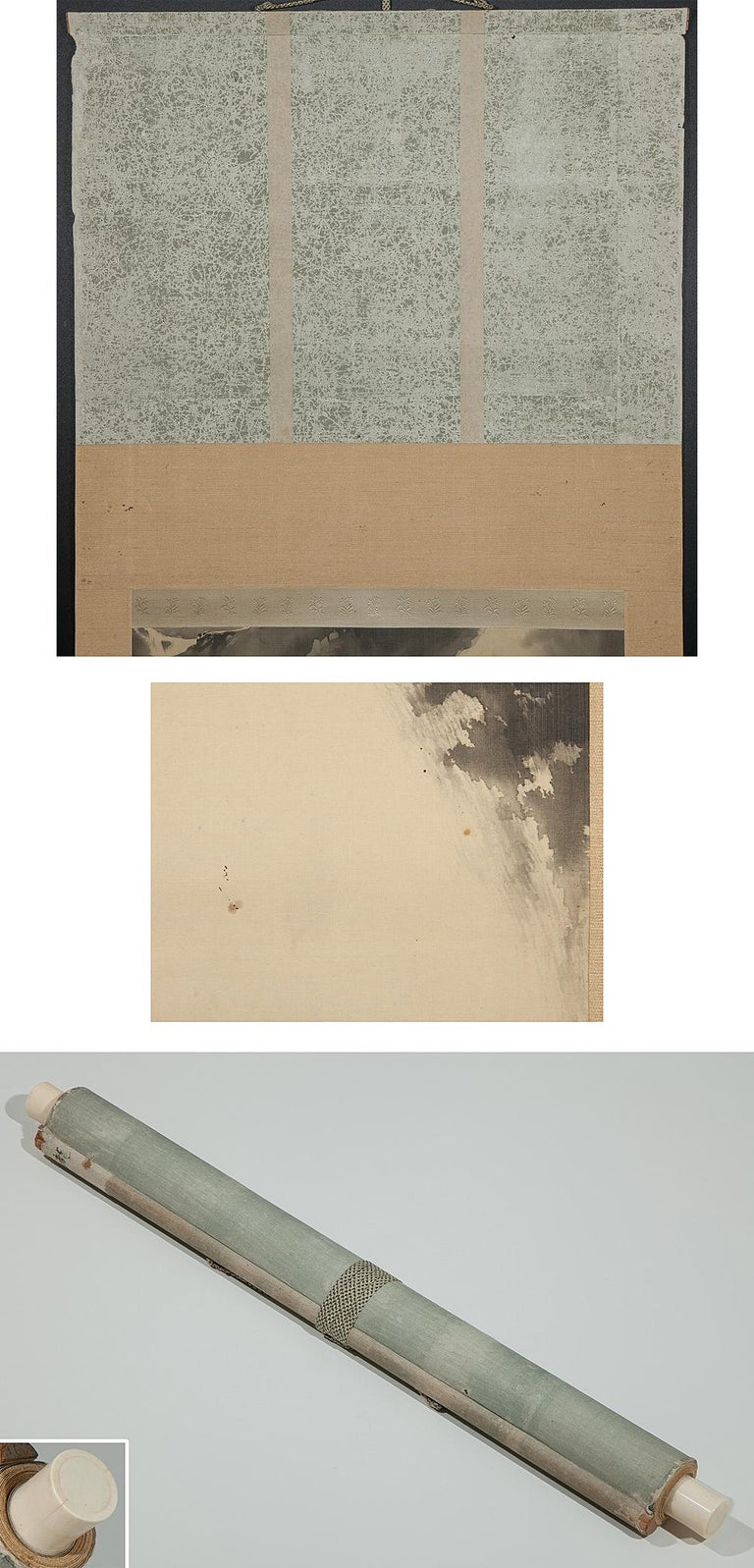 Lovely Meiji period scroll paintings Japan Artist waterfall landscape painted
