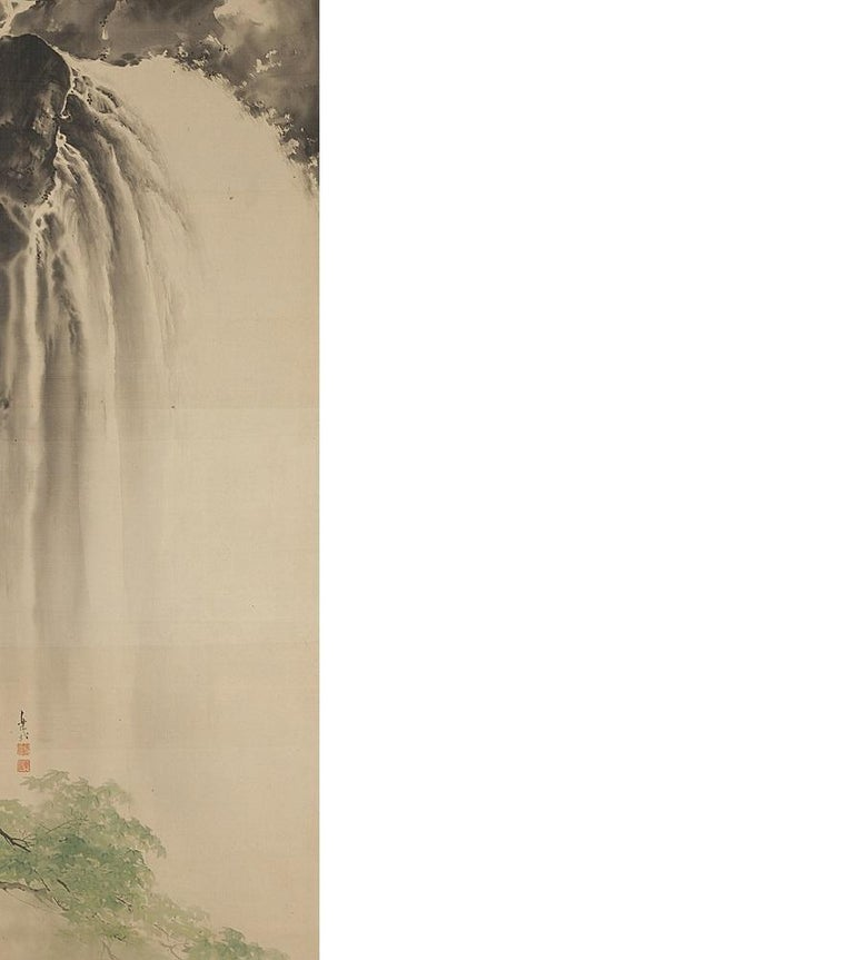 19th Century Lovely Meiji Period Scroll Paintings Japan Artist  Waterfall Landscape Painted For Sale