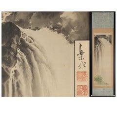 Lovely Meiji Period Scroll Paintings Japan Artist  Waterfall Landscape Painted