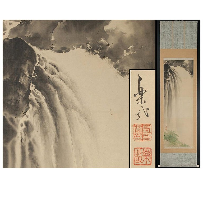 Lovely Meiji Period Scroll Paintings Japan Artist  Waterfall Landscape Painted For Sale