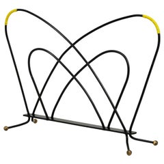 Lovely Mid-Century Modern Newspaper and Magazine Rack Made of Metal