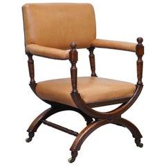 Lovely Mid Victorian Tan Brown Leather Open Armchair Walnut Frame Brass Castors