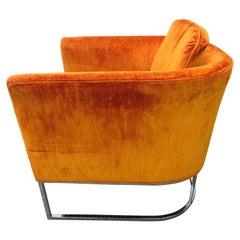 Lovely Milo Baughman Style Chrome Thin Frame Barrel Back Lounge Chair Midcentury