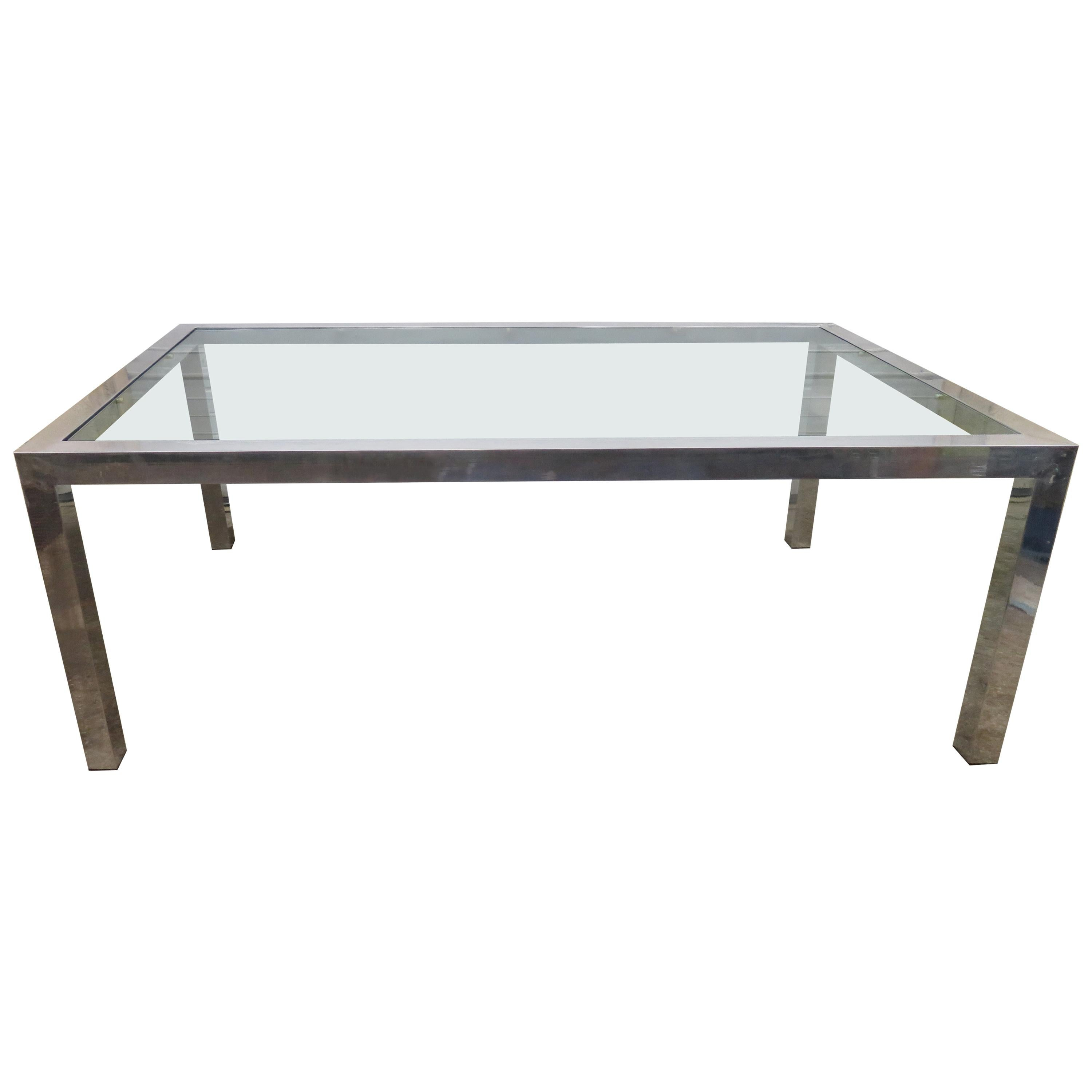 Lovely Milo Baughman Thick Chunky Aluminum Parson Style Dining Table Midcentury