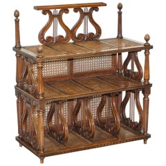 Lovely Musically Inspired French Walnut Étagère Bookcase Whatnot Berger Rattan