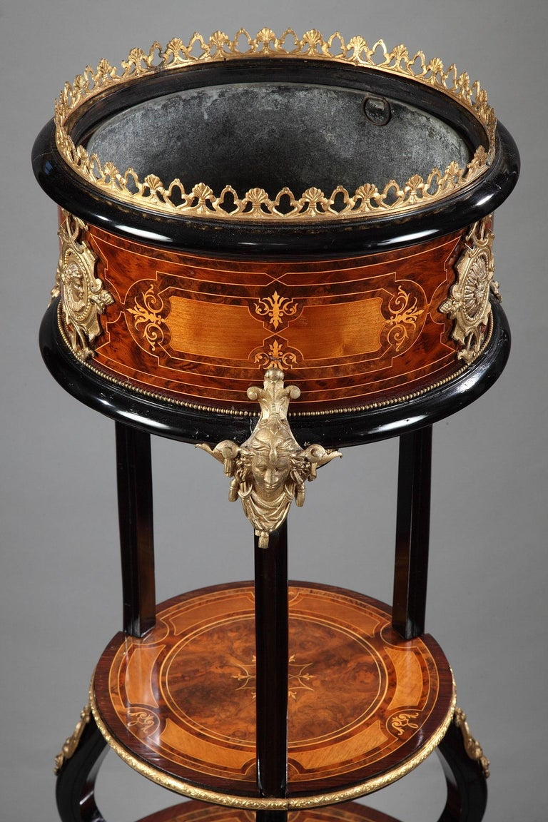 Circular plant pot with a double tray united by a black tripod attributed to C-G Diehl. Charming wood marquetry. A beautiful gilded bronze adornment complete this piece.  Arriving in Paris in circa 1840 Charles-Guillaume Diehl (1811-1885) founded