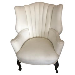 Lovely Newly Upholstered Antique Channel Back Chair