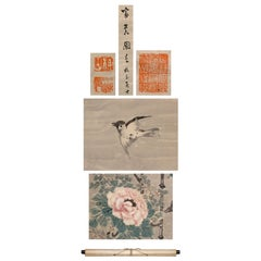 Lovely Nihonga Scene Meiji/Edo Period Scroll Japan Artist Flowers and Snow