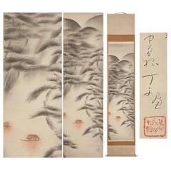 Lovely Nihonga Scene Meiji/Taisho Period Scroll Japan Artist Landscape Boats