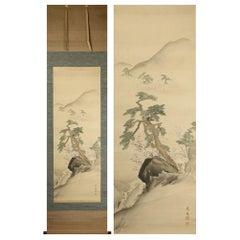 Lovely Nihonga Scene Meiji/Taisho Period Scroll Japan Artist Landscape Kunii Oyo