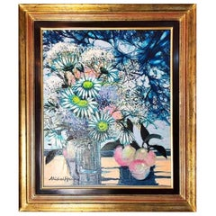 "Lovely Oil on Canvas, Signed Michel-Henry, ""Myosotis et Peches"""