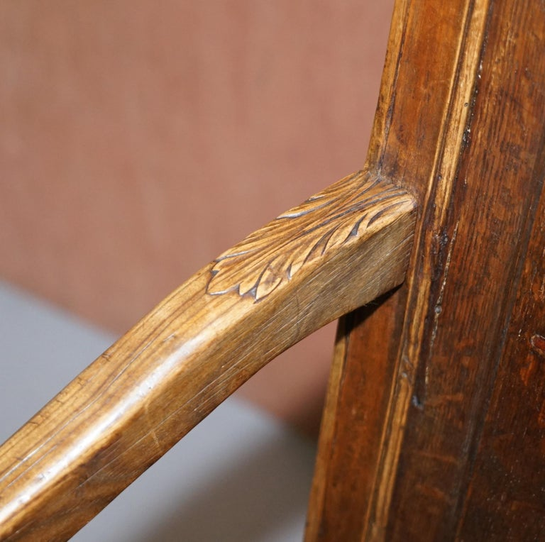 Lovely Original 18th Century Herve Liege Belgium Carved Wood Armchair Wainscot For Sale 2