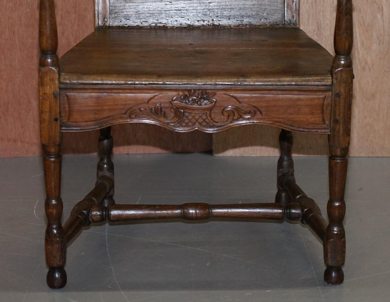 Lovely Original 18th Century Herve Liege Belgium Carved Wood Armchair Wainscot For Sale 4