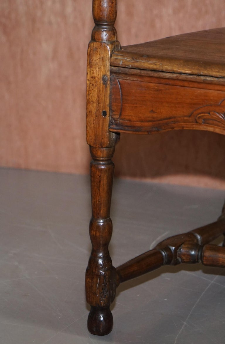 Lovely Original 18th Century Herve Liege Belgium Carved Wood Armchair Wainscot For Sale 5