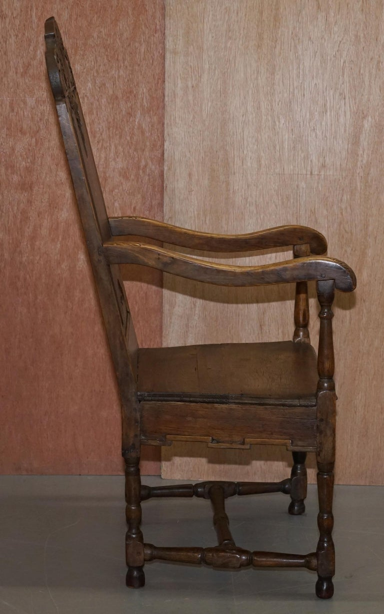 Lovely Original 18th Century Herve Liege Belgium Carved Wood Armchair Wainscot For Sale 7