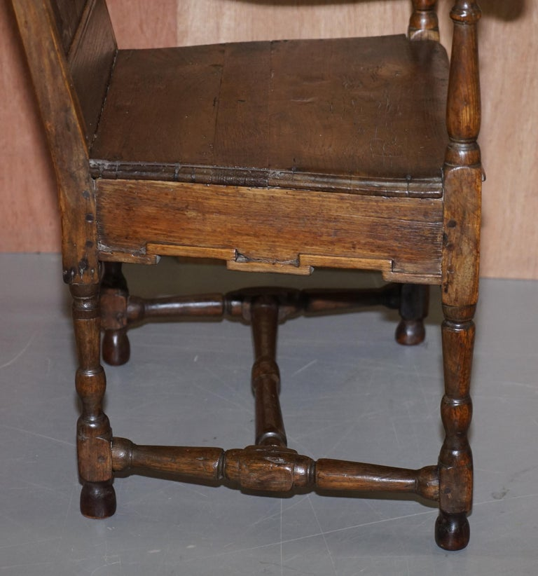Lovely Original 18th Century Herve Liege Belgium Carved Wood Armchair Wainscot For Sale 8