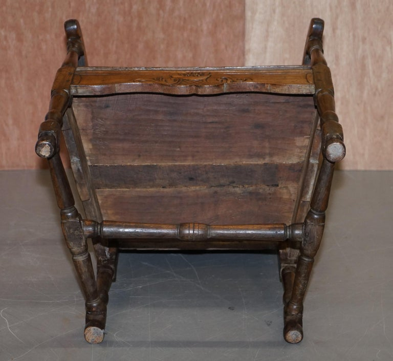 Lovely Original 18th Century Herve Liege Belgium Carved Wood Armchair Wainscot For Sale 12