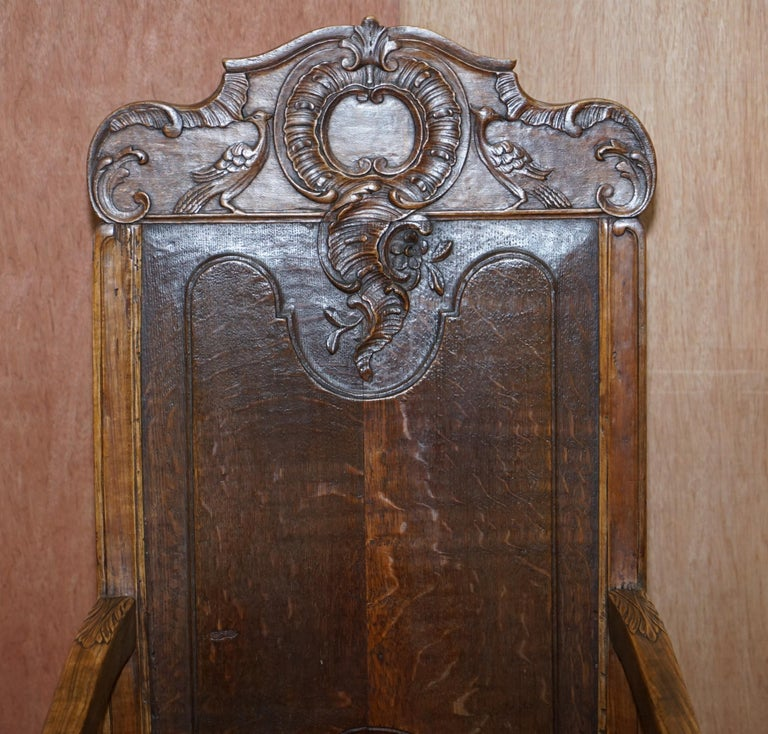 George III Lovely Original 18th Century Herve Liege Belgium Carved Wood Armchair Wainscot For Sale