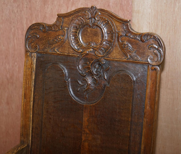 Belgian Lovely Original 18th Century Herve Liege Belgium Carved Wood Armchair Wainscot For Sale