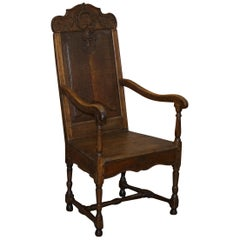 Lovely Original 18th Century Herve Liege Belgium Carved Wood Armchair Wainscot