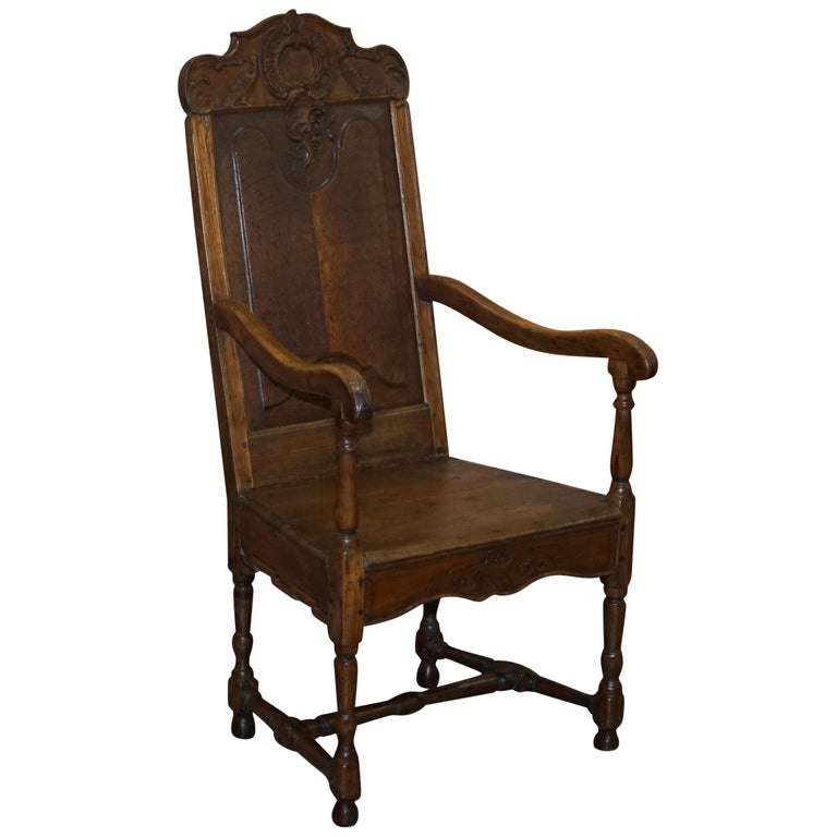Lovely Original 18th Century Herve Liege Belgium Carved Wood Armchair Wainscot For Sale