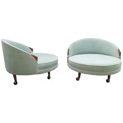 Lovely Pair of Adrian Pearsall Havana Circle Lounge Chairs Mid-Century Modern