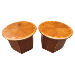 Lovely Pair Andre Bus Lane Acclaim Drum End Side Table, Mid-Century Modern