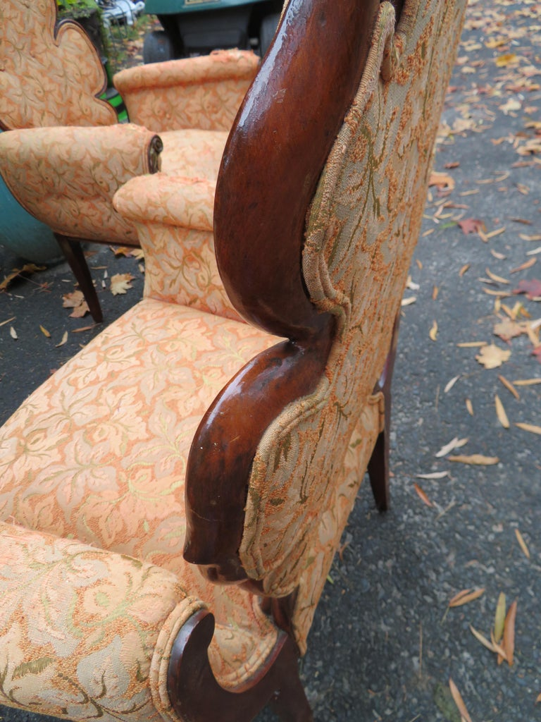 Lovely Pair of Flower Back Grosfeld House Armchairs Hollywood Regency For Sale 7