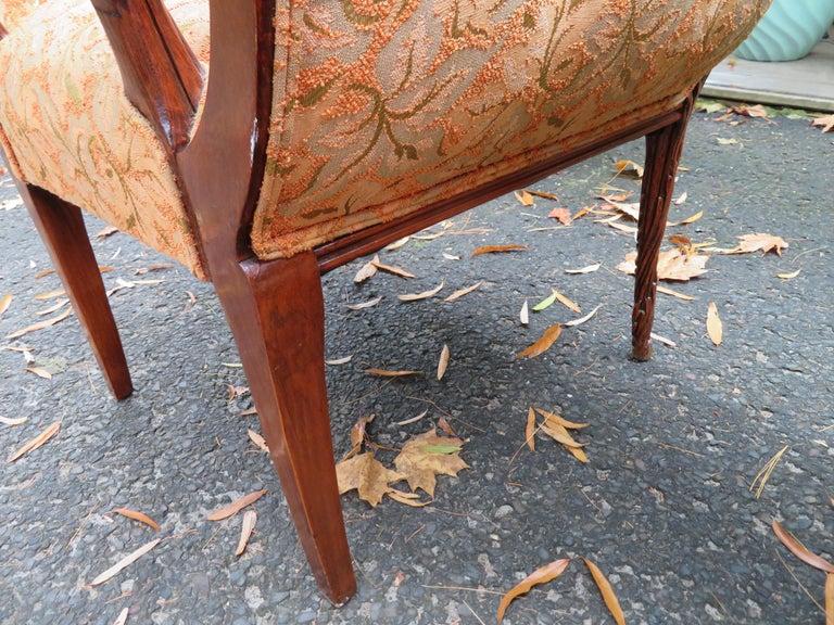 Lovely Pair of Flower Back Grosfeld House Armchairs Hollywood Regency For Sale 8