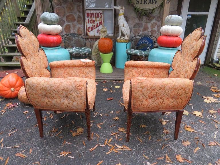 American Lovely Pair of Flower Back Grosfeld House Armchairs Hollywood Regency For Sale