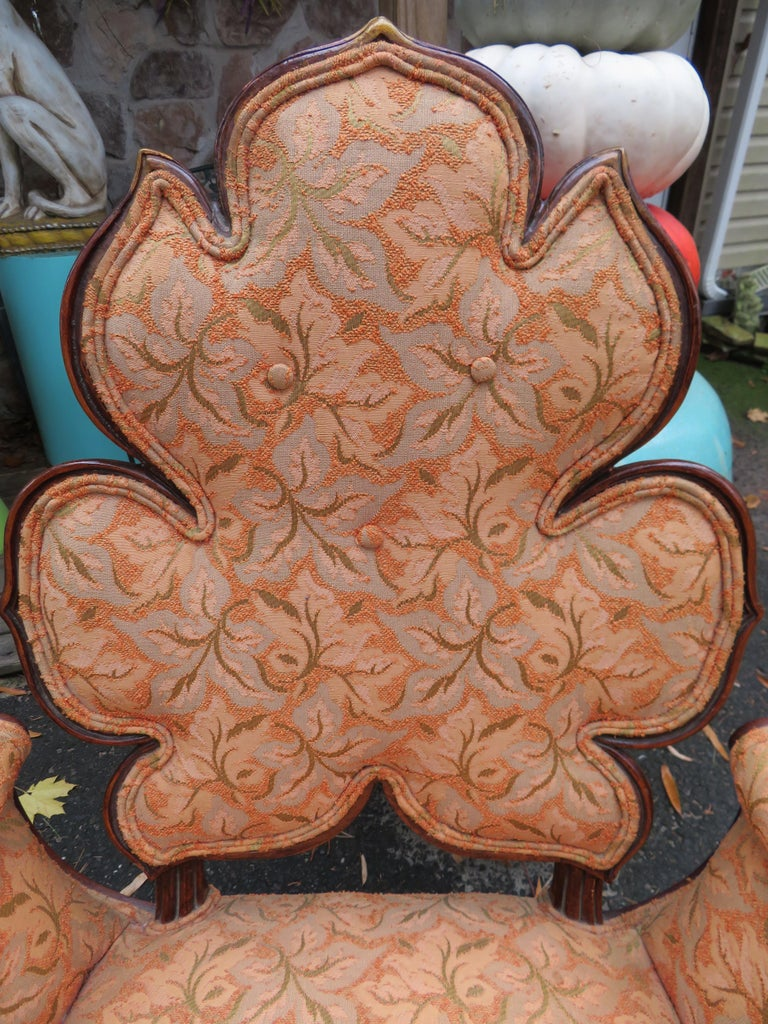 Lovely Pair of Flower Back Grosfeld House Armchairs Hollywood Regency In Good Condition For Sale In Pemberton, NJ