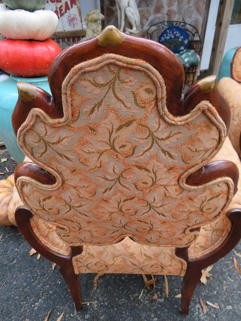 Mid-20th Century Lovely Pair of Flower Back Grosfeld House Armchairs Hollywood Regency For Sale