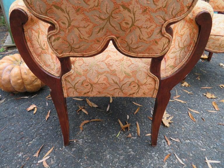 Upholstery Lovely Pair of Flower Back Grosfeld House Armchairs Hollywood Regency For Sale