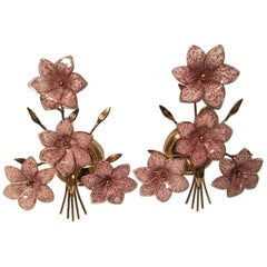 Lovely Pair of Gilt and Glass Flower Sconces, Italy, 1970s