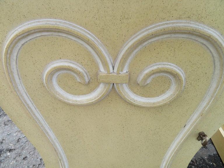 Painted Lovely Pair of Grosfeld House Marble Top Nightstands Hollywood Regency For Sale