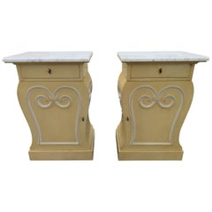 Lovely Pair of Grosfeld House Marble Top Nightstands Hollywood Regency