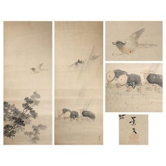 Lovely Pair Nihonga Scene Edo Period Scroll Japan Artist Matsumura Keibun Japan