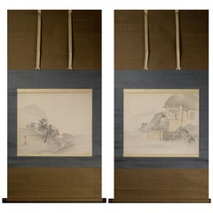 Lovely Pair of Nihonga Scene Edo Period Scroll Japan Artist Matsumura Keibun