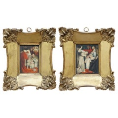 Lovely Pair of 17th Century Small Oil Paintings Original Oversized Frames Signed