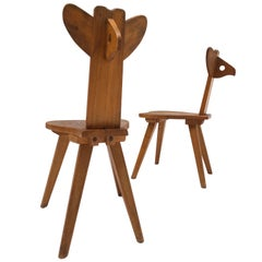 Lovely Pair of 1950s Elmwood 'Bambi' Children's Chairs from Eastern Europe